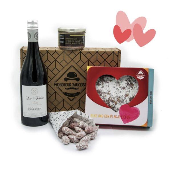 Valentijnspakket met hartjesworst